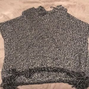 Black and white knitted poncho